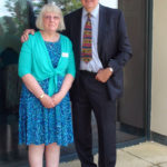 Prof. Chris Raine with Judith Rees. Our first implanted in Feb 1990